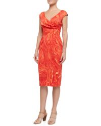 Michael Kors Crossfront Marble Print Charmeuse Dress - Lyst