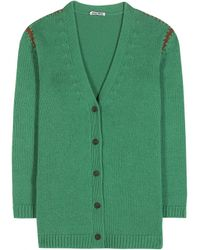 Miu Miu Cashmere Cardigan green - Lyst