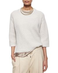Brunello Cucinelli Ribbed Chunky Sweater - Lyst