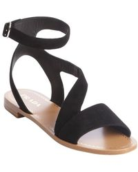 Prada Black Suede Strappy Sandals - Lyst