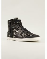 Lanvin Black Hitop Sneakers - Lyst