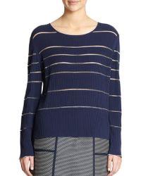 Lafayette 148 New York Ribbed Sheer-Stripe Sweater - Lyst