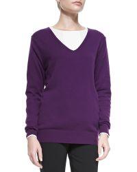 Theory Wynn Cashmere Vneck Sweater - Lyst