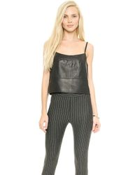 Icb Black Leather Camisole   - Lyst