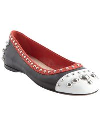 Prada Back and Red and White Meal Studded Cap Toe Flats - Lyst