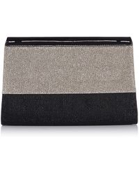 Karen Millen Gliiter Fabric Colourblock Clutch black - Lyst