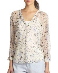 Joie Lerona Floral-Print Silk Blouse - Lyst