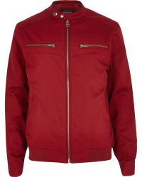 River Island Red Casual Bomber Jacket - Lyst