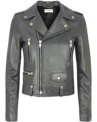 Saint Laurent Leather Biker Jacket - Lyst