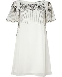 Tfnc Embroidered Neck Cap Sleeved Dress - Lyst