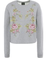 McQ by Alexander McQueen Floral Embroidered Sweatshirt - Lyst