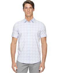 Calvin Klein Checkerboard Dobby Shirt white - Lyst
