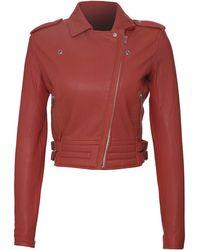 IRO Leather Zefir Moto Jacket orange - Lyst