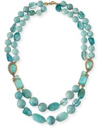 Alexis Bittar Gilded Muse Dore Blue Sponge Bead Necklace - Lyst