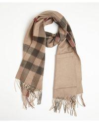 Burberry Dark Beige Check Cashmere-wool Blend Helene Scarf - Lyst