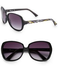 Missoni Square Black 58mm Printed Temple Sunglasses - Lyst