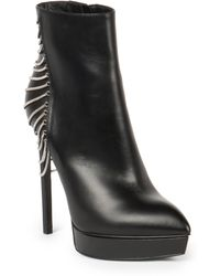Saint Laurent Janis Chain-Detail Leather Booties - Lyst