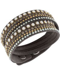 Swarovski Slake Crystal Brown Wrap Bracelet gray - Lyst