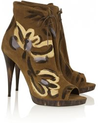 Burberry Prorsum - Painted Suede Ankle Boots - Lyst