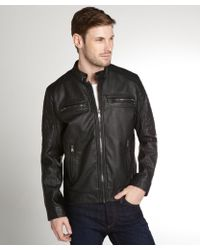 Calvin Klein Black Faux Leather Zip Front Moto Jacket - Lyst