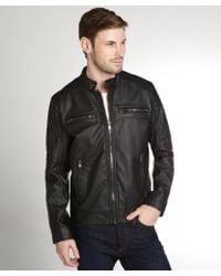 Calvin Klein Black Faux Leather Zip Front Moto Jacket - Lyst