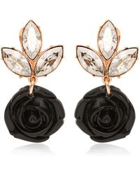 Mawi Black Rose & Crystal Drop Earrings - Lyst