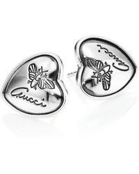 Gucci   Flora Heart Sterling Silver Stud Earrings   Lyst