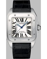 Cartier Santos 100 Stainless Steel Watch On Strap Large - Lyst