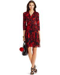 Diane von Furstenberg Irina Silk And Chiffon Combo Wrap Dress black - Lyst