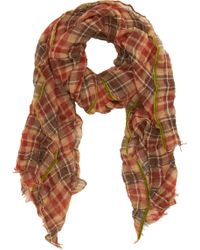 Barneys New York Plissé Plaid Muffler - Lyst