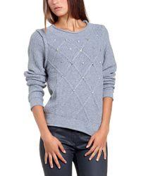 Patrizia Pepe Long Sleeve Wool Mix Top - Lyst