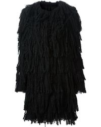 Lanvin Black Fringed Coat - Lyst