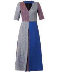 Roksanda Ilincic Layne Patchwork Herringbone Dress - Lyst