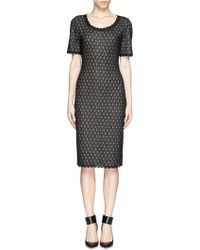 St. John Scallop Hem Lurex Knit Dress - Lyst