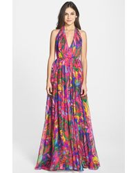 Milly Women'S 'Georgina' Print Cotton Blend & Silk Halter Gown - Lyst