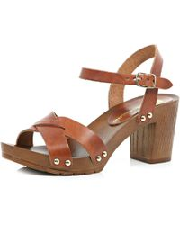 River Island Brown Strappy Leather Wooden Heel Sandals - Lyst