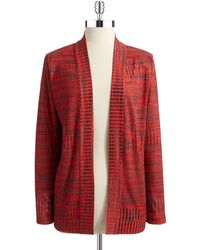 Jones New York Red Patterned Cardigan - Lyst