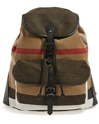 Burberry 'Korbin' Check Print Canvas Backpack beige - Lyst