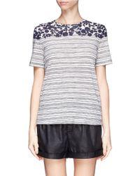 Tory Burch 'Cathy' Leaf Stripe Cotton T-Shirt - Lyst