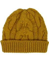 Barneys New York Yellow Cable-knit Beanie - Lyst