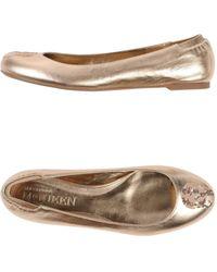 Alexander McQueen Gold Ballet Flats - Lyst