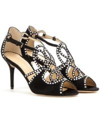 Charlotte Olympia Shanglow Embellished Suede Sandals - Lyst
