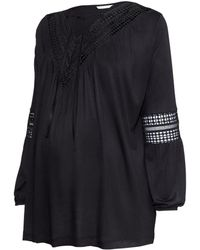 H&M Mama Jersey Top With Lace - Lyst
