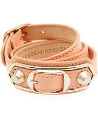 Balenciaga Classic Wraparound Leather Bracelet - Lyst