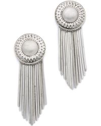 Sam Edelman - Fringe Disc Earrings - Rhodium - Lyst
