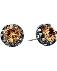 Betsey Johnson Cz Crystal Ruffled Halo Stud Earrings - Lyst