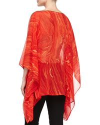 Michael Kors Marble On Chiffon Poncho Top - Lyst