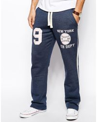 Asos Straight Sweatpants in Heavyweight with Collegiate Print - Lyst
