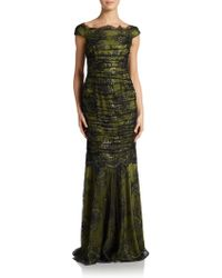 Kay Unger Off The Shoulder Ruched Mermaid Gown - Lyst