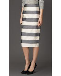Burberry Block Stripe Silk Cotton Pencil Skirt - Lyst